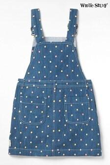 White Stuff Blue Kids Ellie Denim Dungaree Dress