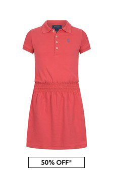 Girls Red Cotton Polo Dress
