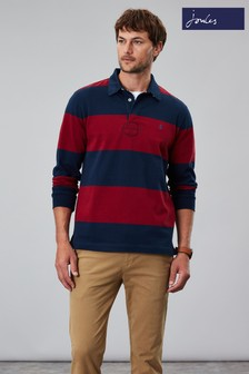 Joules Red Onside Long Sleeve Stripe Rugby Shirt