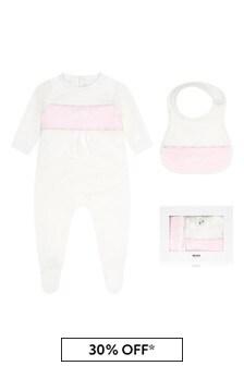 Boss Kidswear Baby Girls White Cotton Babygrow Set