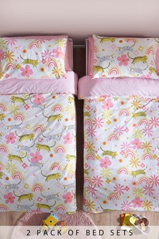 2 Pack Rainbows And Big Cats Duvet Cover and Pillowcase Set