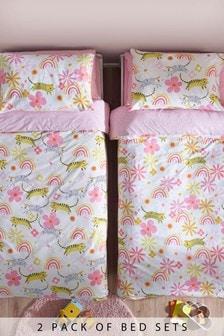 Bettbezug und Kissenbezug im 2er Set mit Regenbogen und Katzendesign