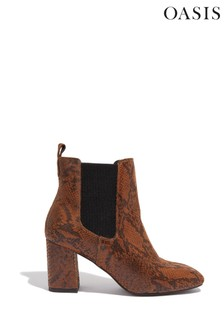 Oasis Brown Louise Textured Boots