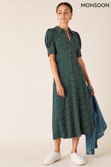 Monsoon Green Ditsy Print Shirt Dress