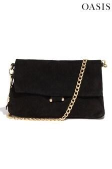 Oasis Black Suede Foldover Bag