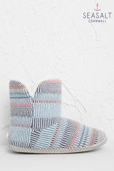 Seasalt Blue Snooze Slipper Booties