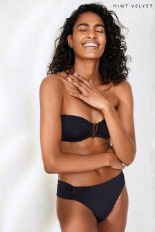 Mint Velvet Black Non Pad Underwired Bandeau Bikini Top