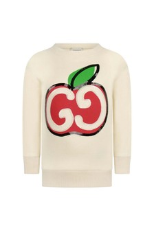 Girls Ivory Cotton Apple Logo Sweater