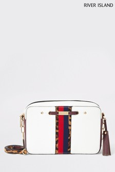River Island White Panel Boxy Cross Body Bag