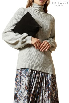 Ted Baker Grey Sylinaa Chunky Wool Blend Roll Neck Jumper