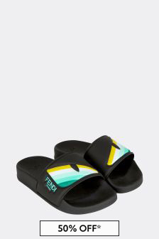Fendi Kids Kids Black Sliders