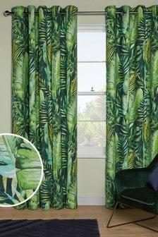 Green Tropical Print Eyelet Curtains