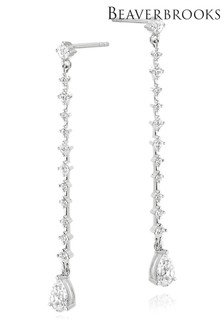 Beaverbrooks Sterling Silver Cubic Zirconia Pear Drop Earrings