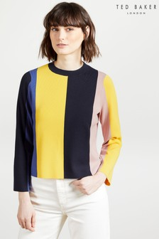 Ted Baker Blue Fenchi Stripe A Line Sweater