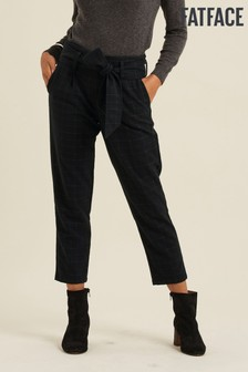 FatFace Black Check Tie Side Trousers