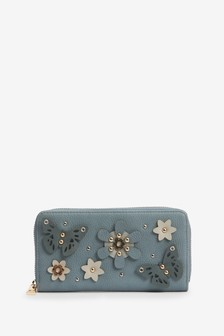 Floral And Butterfly Appliqué Zip Around Purse