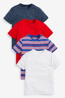 4 Pack Textured T-Shirts (3-16 лет)