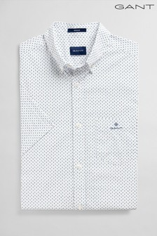GANT White Broadcloth Print Regular Shirt