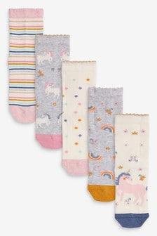 5 Pack Pretty Unicorn Socks