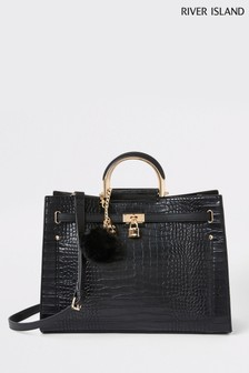River Island Black Metal Handle Strapped Tote