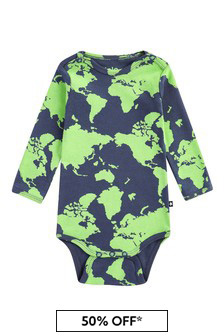 Baby Boys Green Cotton Babygrow