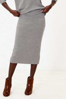 Oasis Grey Tula Co-ord Knitted Skirt
