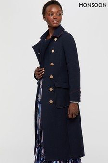 Monsoon Ladies Blue Anna Maxi Military Coat