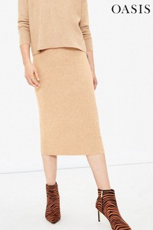 Oasis Stone Tula Co-ord Knitted Skirt