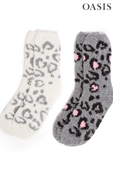 Oasis Natural Leopard Cosy Socks Two Pack