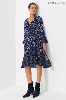 Next/Mix Mixed Print Wrap Dress