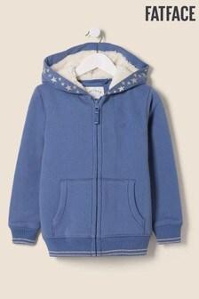 Синий свитер из искусственного меха на молнии со звездами FatFace