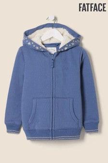 FatFace Blue Star Borg Zip Through Sweater
