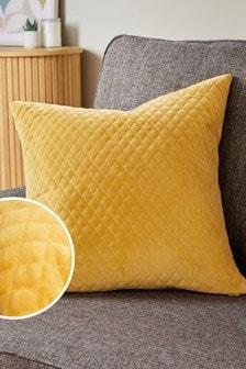 Ochre Yellow Velvet Quilted Hamilton Square Cushion