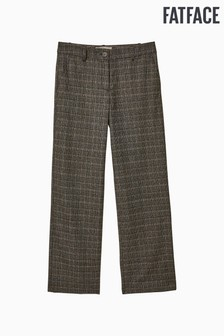 FatFace Grey Check Wide Leg Trousers