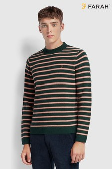 Farah Green Bruce Stripe Jumper