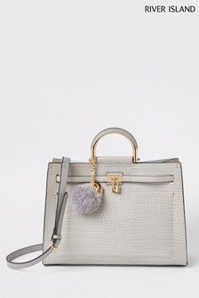 River Island Grey Metal Handle Strapped Tote