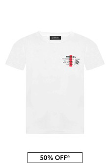 Diesel Boys White Cotton T-Shirt