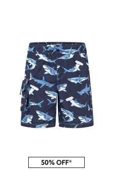 Hatley Kids & Baby Hatley Boys Blue Deep Sea Sharks Swim Trunks