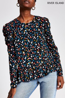 River Island Black Print Ellie Blouse