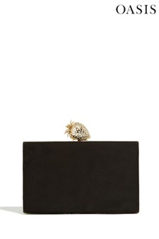 Oasis Clutch mit Erdbeer-Design, schwarz