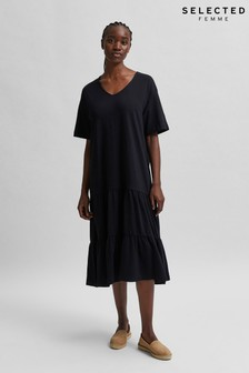Selected Femme Black Tiered Jersey Reed Midi Dress