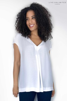 Live Unlimited White Pleat Front Top