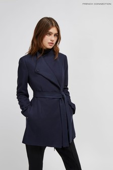 French Connection Blue Platform Felt Crossover Coat