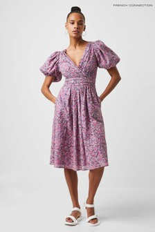 French Connection Flores Cotton V-Neck Dress