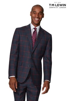 T.M. Lewin Jacket In Navy And Burgundy Windowpane Check