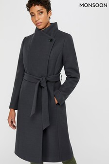 Monsoon Ladies Black Rita Wrap Collar Long Coat