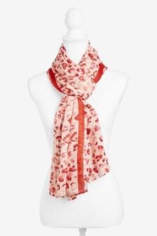 UK Beautiful pale blue /& pink print scarf.