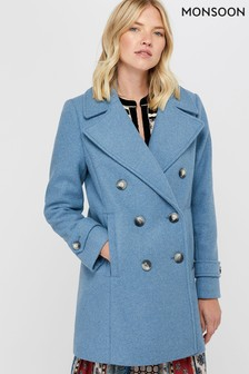 Monsoon Ladies Blue Ashley Double Breasted Pea Coat