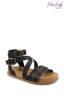 Blowfish Black Fandie Platform Moulded Footbed Sandals