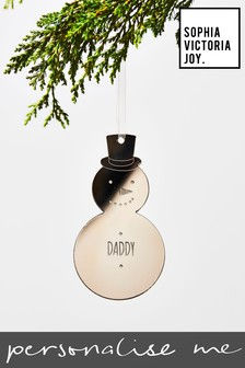 Personalised Daddy Snowman Decoration by Sophia Victoria Joy